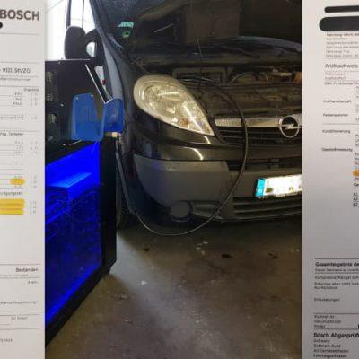 Abgastest vor und nach Carbon Cleaning Dieselmotor
